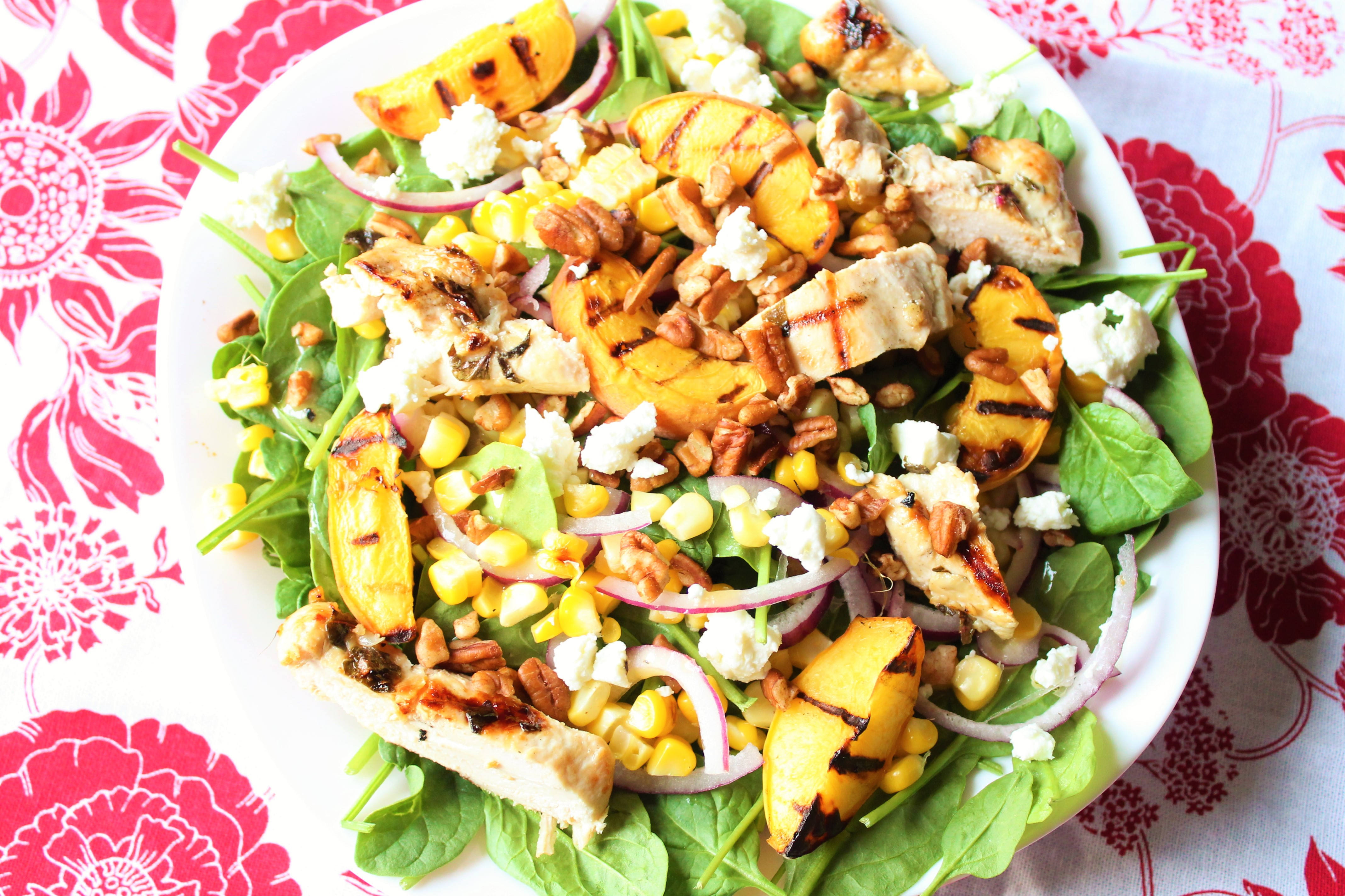 Grilled Peach Salad with Lemon Basil Chicken
