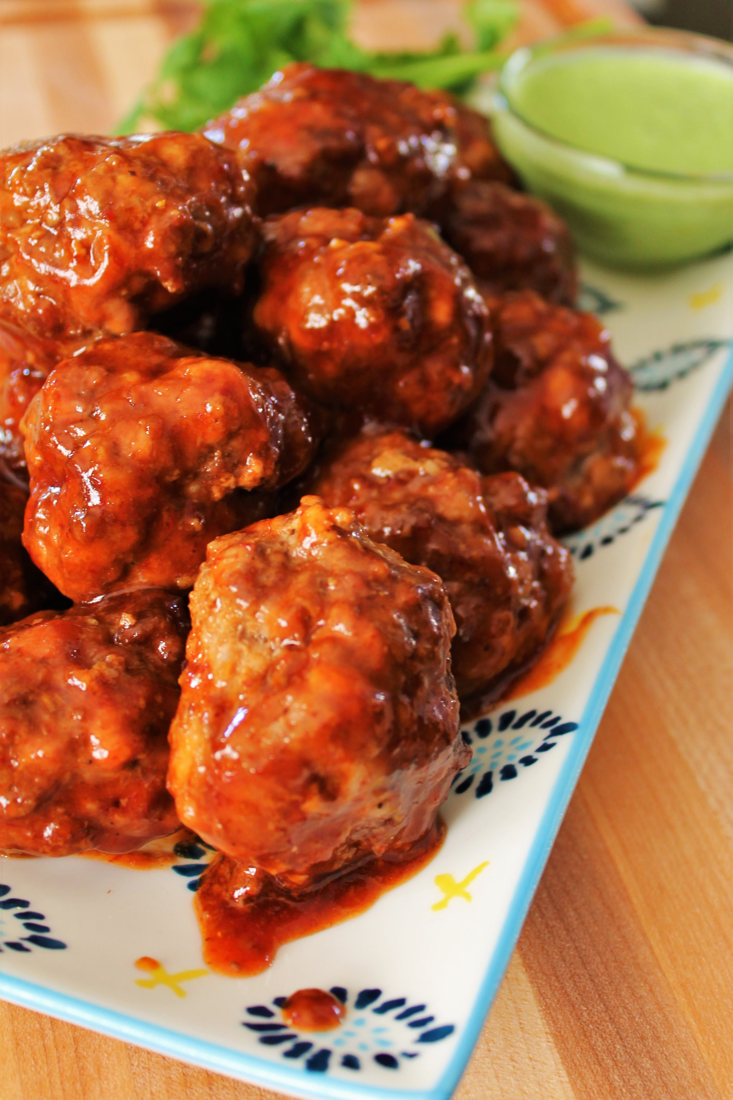 Spicy Chipotle Meatballs with Cilantro Lime Sauce