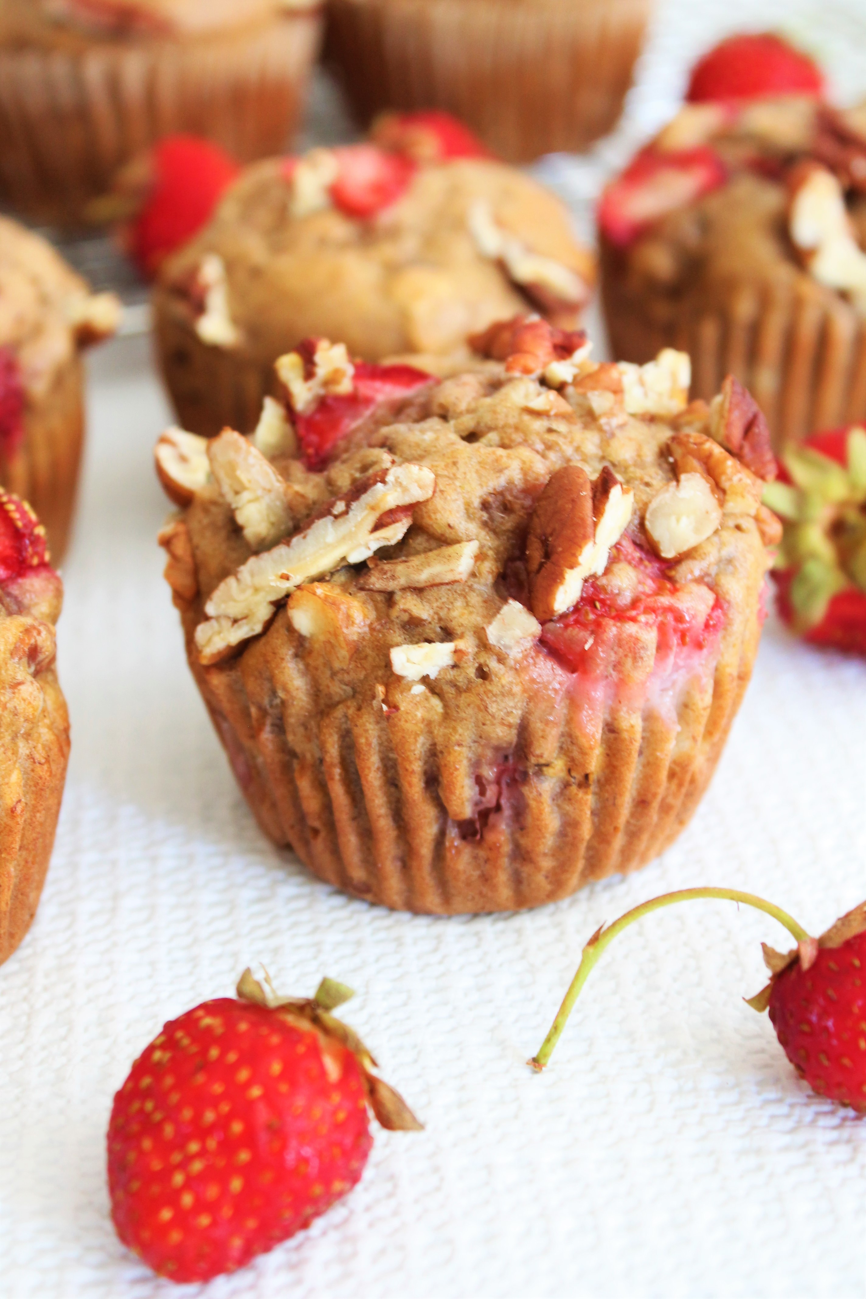 Healthy Whole Grain Strawberry Pecan Banana Muffins