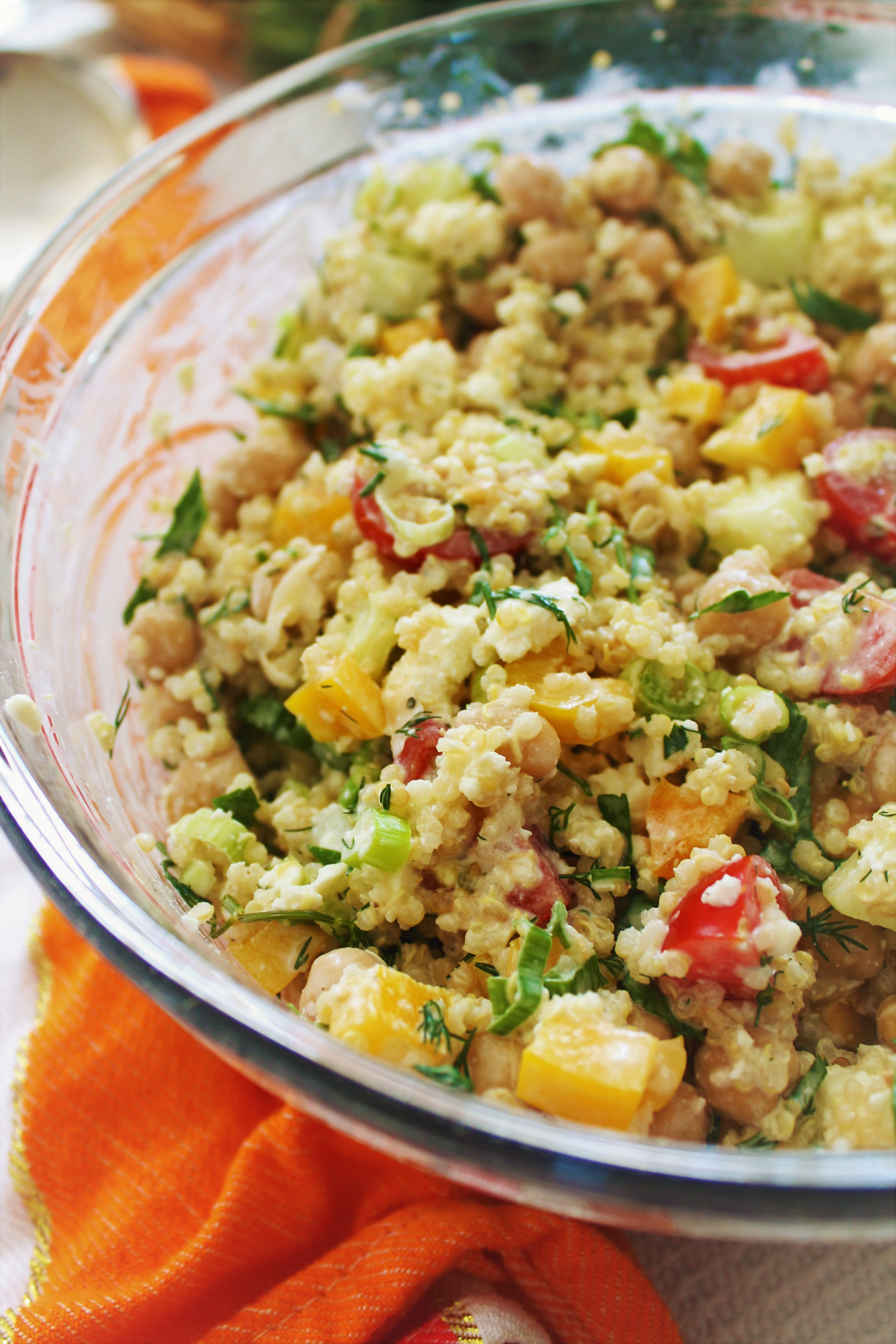 Summer Chickpea Quinoa Salad with Creamy Dill Dressing