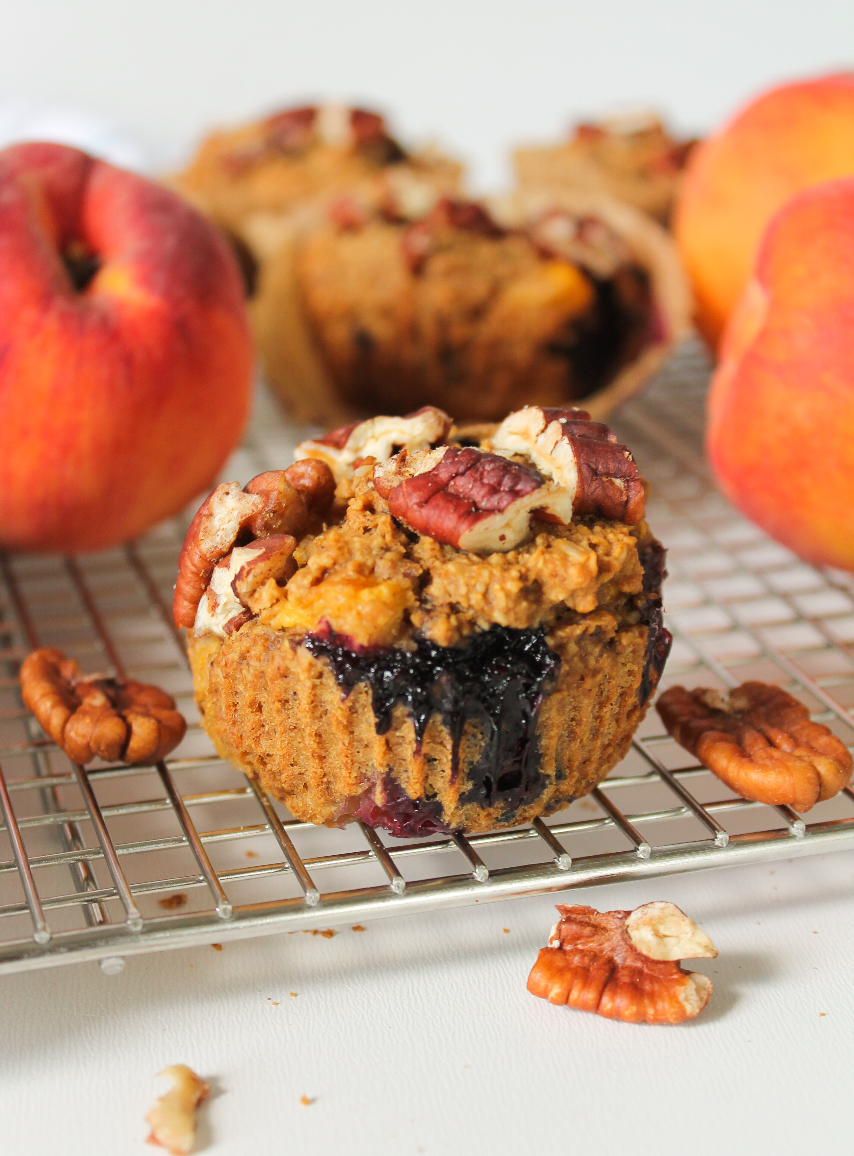 Blueberry Peach Whole Grain Muffins